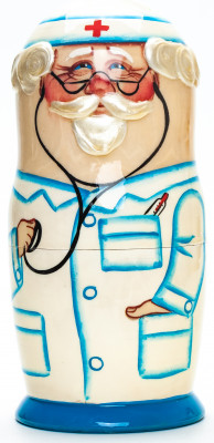 180mm Doctor hand painted Matryoshka round Doll 5pcs (by A Studio)
