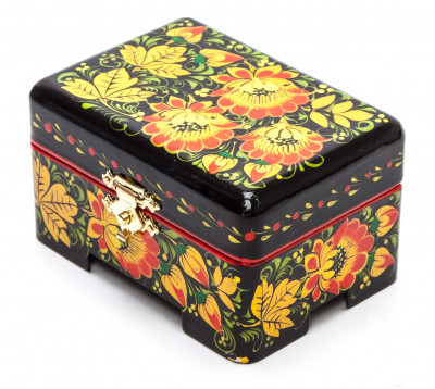 Khokhloma Painting Jewellery Wooden Box 80x60 mm