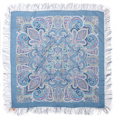 125x125 cm Waiting For The Holiday Woolen Scarf with Silk Fringe (by Pavlov Posad)