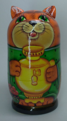 120mm Cat with a Samovar hand painted Matryoshka 3pcs (by Gift Shop)