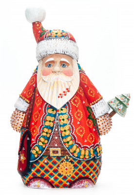 300 mm Santa Claus with a Green Christmas Tree Carved Wood Hand Painted Collectible Figurine  (by Natalia Nikitina Workshop)