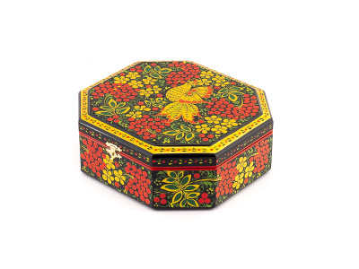 Khokhloma Painting Jewellery Wooden Box 170x160 mm