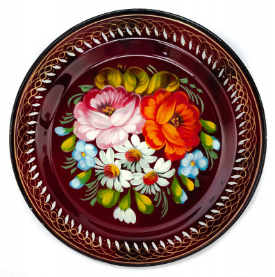 d 180 mm Zhostovo Patterns hand painted and lacquered Metal Forged Tray (by Lada Crafts)