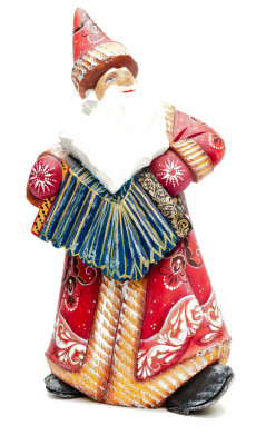 270 mm Santa with an Accordion Carved Wood Hand Painted Collectible Figurine (by Igor Carved Wooden Figures Studio)