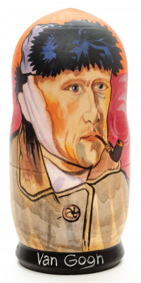 200 mm Van Gogh Autoportrait Hand Painted Matryoshka Doll 5 pcs (by Alexander Studio)