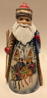 Hand Carved and Painted Santa Claus vs Russian Troika