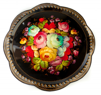 d 420 mm Zhostovo Patterns hand painted and lacquered by Chudakova Metal Forged Tray (by Lada Crafts)
