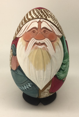 120 mm Santa Claus Hand Carved and Painted Matryoshka Doll Egg shape (by Sergey Carved Wooden Dolls Studio)