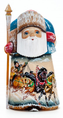 150 mm Santa with a Magic Staff and a Bag with handpainted Troika Wooden Carved Statue (by Igor Carved Wooden Figures Studio)