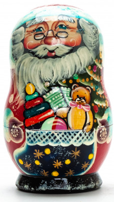 110 mm Santa Claus with a Bag Full of Toys hand painted wooden Matryoshka Doll 5 pcs (by Skazka)