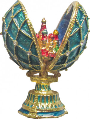 70 mm Saint Basil's Cathedral Golden Trellis Blue Enamel Easter Egg