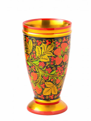 220x120 mm Khokhloma hand painted wooden Vase (by Golden Khokhloma)