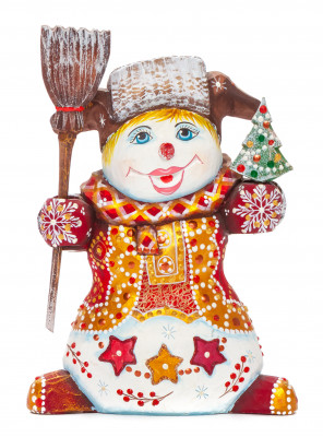160 mm Snowman with a Broom and a Green Christmas Tree on wooden Figurine (by Natalia Nikitina Workshop)