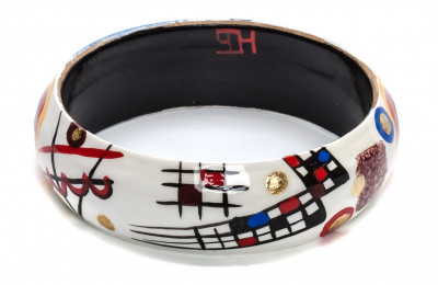 80x16 mm Transverse Line by Kandinsky hand painted on wooden Bracelet (by A Studio)
