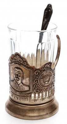 Stalin Silver Plated Brass Tea Glass Holder with Faceted Glass and Silver Plated Spoon (by Kolchugino)