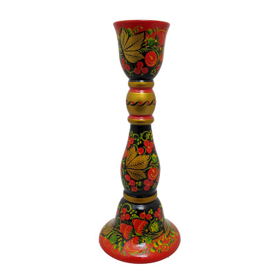 200x80 Strawberries Khokhloma handpainted Ornament on Carved Wooden Candlestick Holder