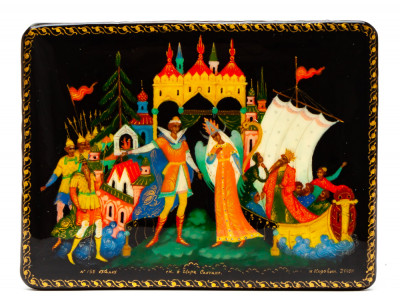 100x70mm Tale of Tsar Saltan hand painted lacquered box from Palekh (by Pavel Studio)