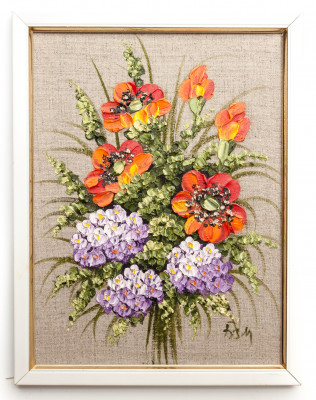 200x260 mm Bouquet of Flowers hand painted on Canvas painting (by Skazka)