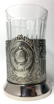 Coat of arms of USSR Nickel Plated Brass Tea Glass Holder with Faceted Glass (by Kolchugino)