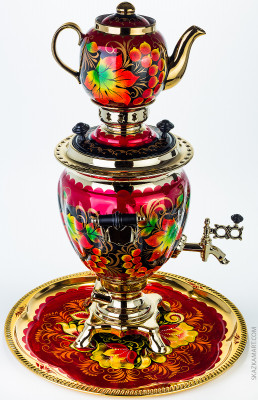 Golden Autumn Hand Painted Electric Samovar Kettle with Teapot and Tray