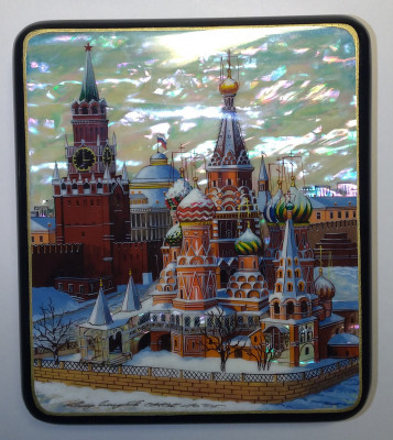 145[125 mm Moscow Snt Basil Cathedral and Red Square hand painted papier-mache lacquered Jewelry Box (by Tatiana Crafts