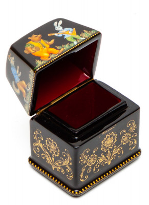 40x30mm The Teremok hand painted lacquered box from Palekh (by Pavel Studio)