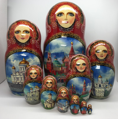 290 mm Moscow Cathedrals hand painted wooden Matryoshka Doll 10 pcs (by Trifiniv Studio)