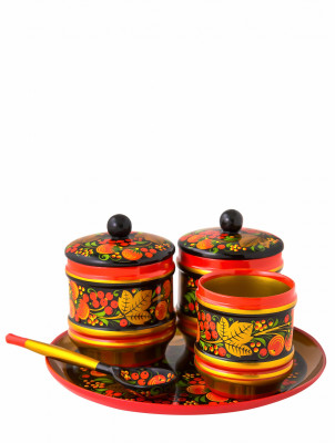 100 mm Khokhloma hand painted woode Sauce Bowl with lid and spoon on a round Tray (by Golden Khokhloma)