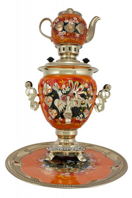 Wood GrouseHand Painted Electric Samovar Kettlewith Teapot and Tray