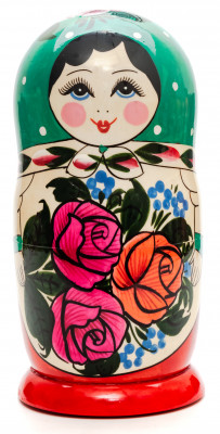 205 mm Green Head Semenovskaya handpainted wooden Matryoshka Doll 8 pcs (by Ivan Studio)