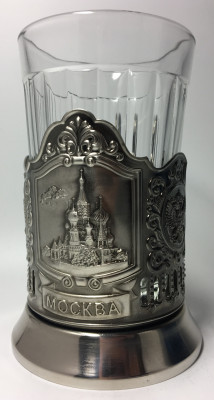 Moscow Snt Basil Cathedral Nickel Plated Brass Tea Glass Holder with Faceted Glass (By Kolchugino)