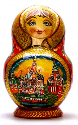 200 mm Moscow Cathedrals Hand painted Matryoshka doll 15 pcs inside round shape (by Valery Studio)