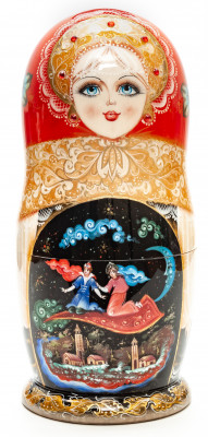 240mm The Magic Flying Carpet hand painted Matryoshka round Doll 7pcs (by A Studio)