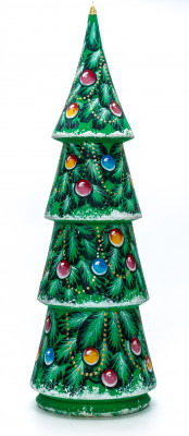 460 mm Christmas Wooden Green Tree with Hand Painted Garlands and Decorations