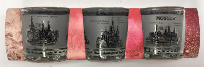 50 ml Moscow Views Grey and White Decal Shot Glass set of 3 pcs (by AKM Gifts)