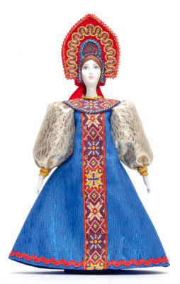 Porcelain Doll in a Russian Dress and Kokoshnik - 11 Inches (by Le Russe)