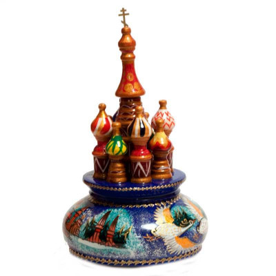 210 mm Saint Basil's Cathedral Flying Swans hand painted Wooden Music Box (by Nightingale Crafts)