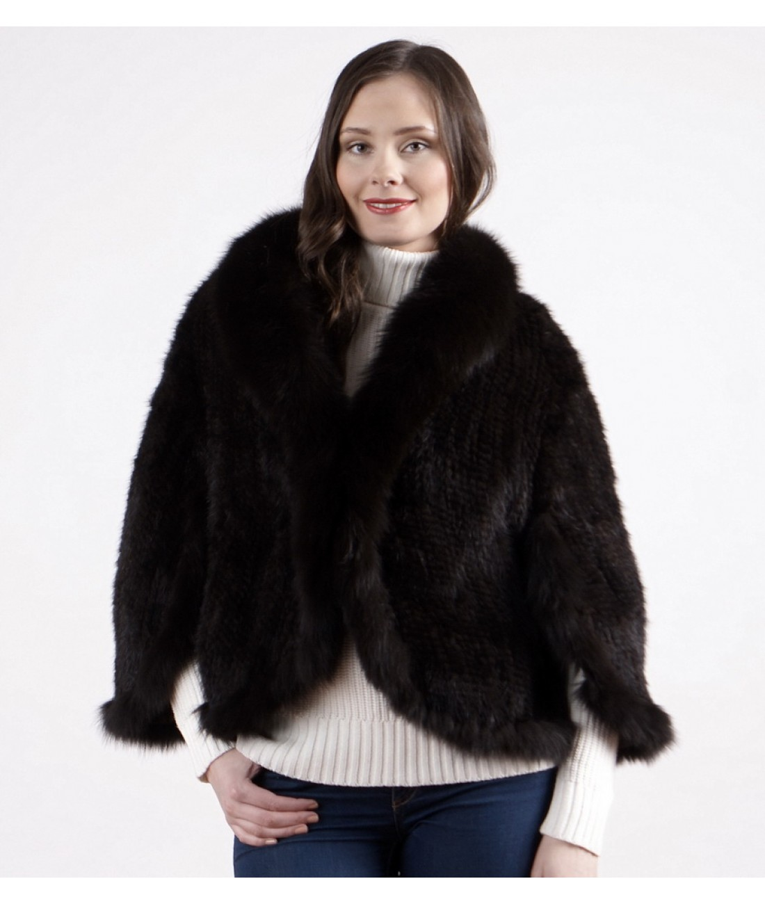 Black Mink Fur Spiral Cape with Arctic Fox Collar