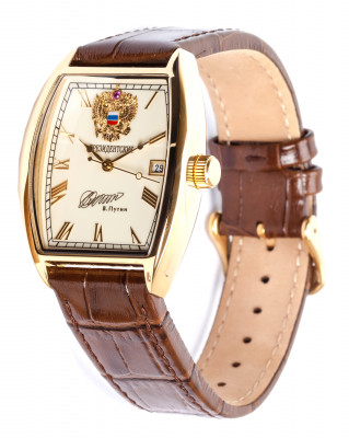 PRESIDENT Automatic watch by POLJOT, rectangular case, 10µm gold coated, 34x45mm