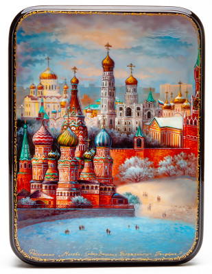 110x150mm Moscow and Saint Basil Cathedral hand painted lacquered jewelery box (by Panferoff Studio)