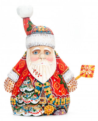 220 mm Santa with a Christmas Tree Carved Wood Hand Painted Collectible Figurine  (by Natalia Nikitina Workshop)