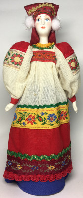230 mm Russian Peasant Woman in a Traditional Linen Dress and Headdress 18th Century (by Le Russe)