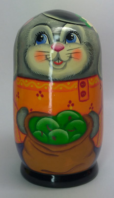 120mm Hare with a Backet of Apples hand painted Matryoshka 3pcs (by Gift Shop)