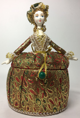 Girl in a Little Hat and Nice Dress Jewelry Box (brocade, hand-sewn Doll by Le Russe)