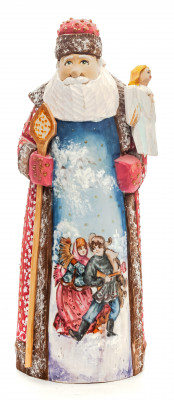 240 mm Santa with a Magic Staff and an Angel with handpainted Children Wooden Carved Statue (by Igor Carved Wooden Figures Studio)