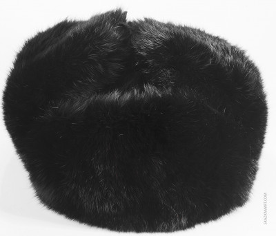 Black Rabbit Hair Winter Ushanka Hat with Ear Flaps (by Skazka Furs)