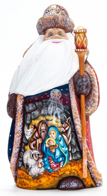 180 mm Nativity of Jesus Santa with a Magic Staff Carved Wood Hand Painted Collectible Figurine  (by Sergey Christmas Workshop)