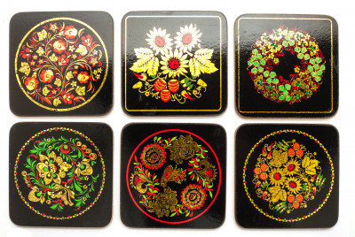 Coasters with Khohloma Ornaments