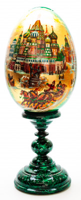 430 mm Saint Basil Cathedral hand painted on red colored wooden Egg with standby (by Alexander Green)