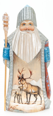 230mm Santa with a Magic Staff and a Bag with handpainted Deers Wooden Carved Statue (by Igor Carved Wooden Figures Studio)